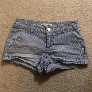 Forever 21 faded pink and blue pinstripe shorts